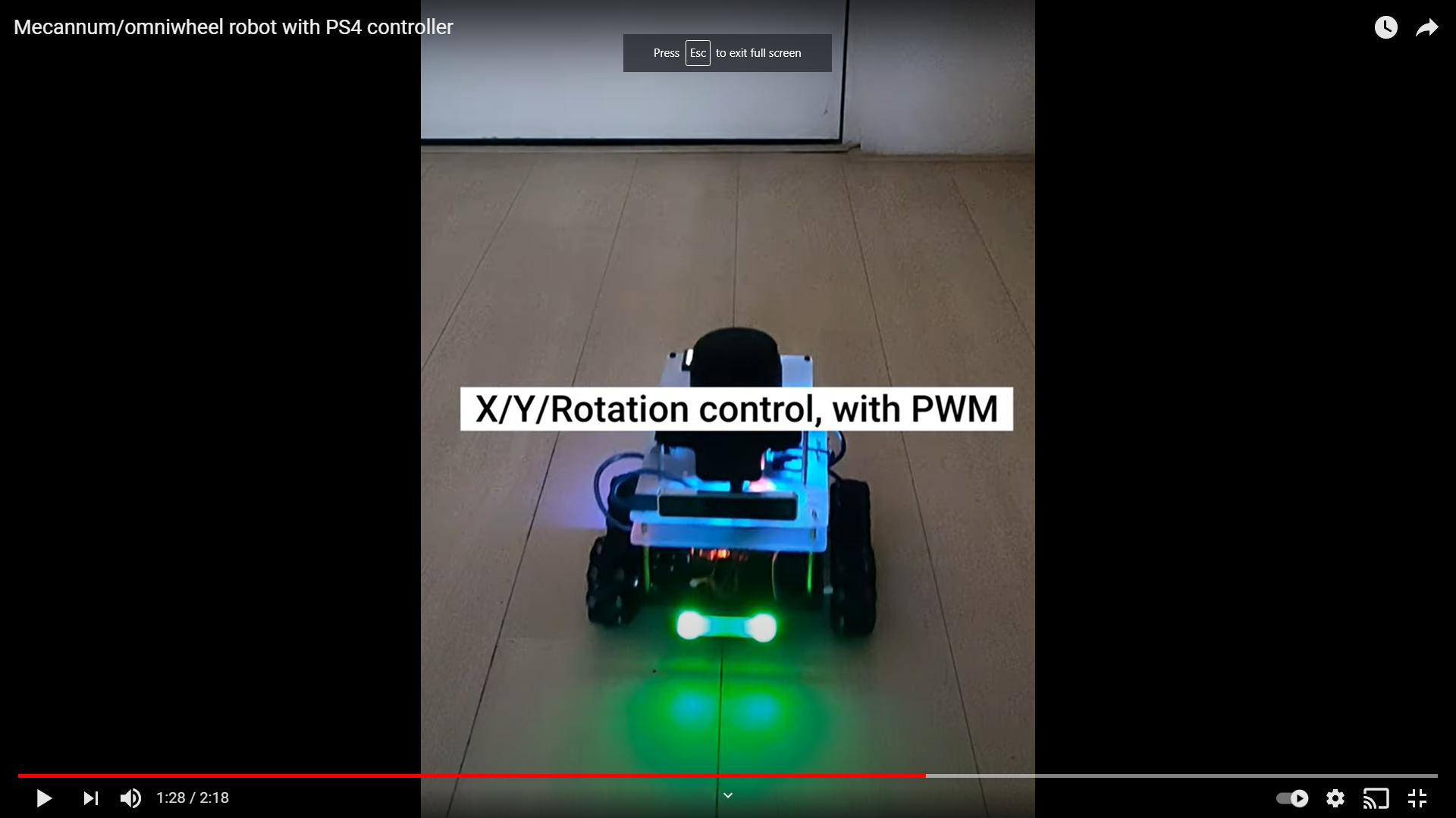 Mecannum/omniwheel robot with PS4 controller